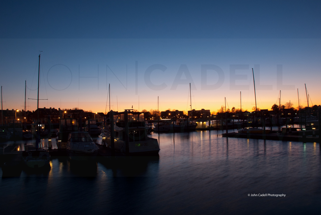 Twilight comes to Portsmouth, Virginia on a pretty cold winter evening, 2011.